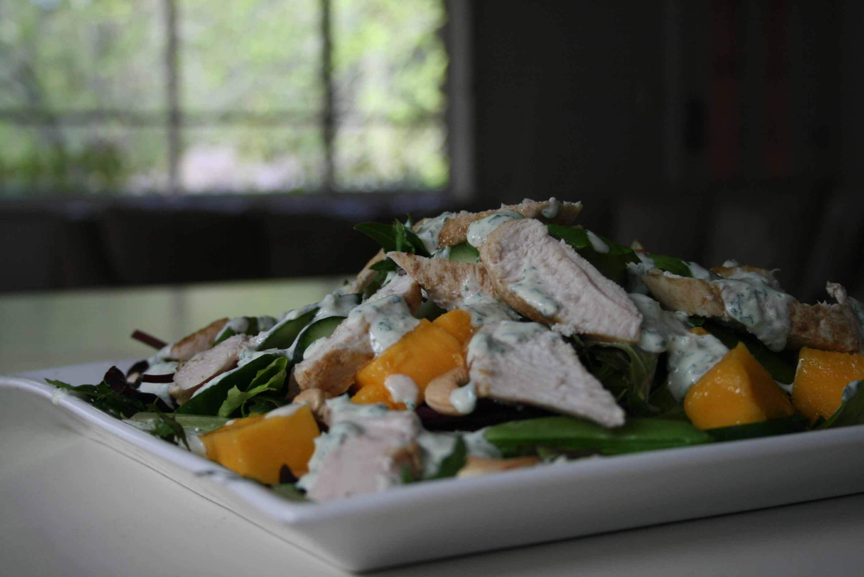 Large chicken and mango salad