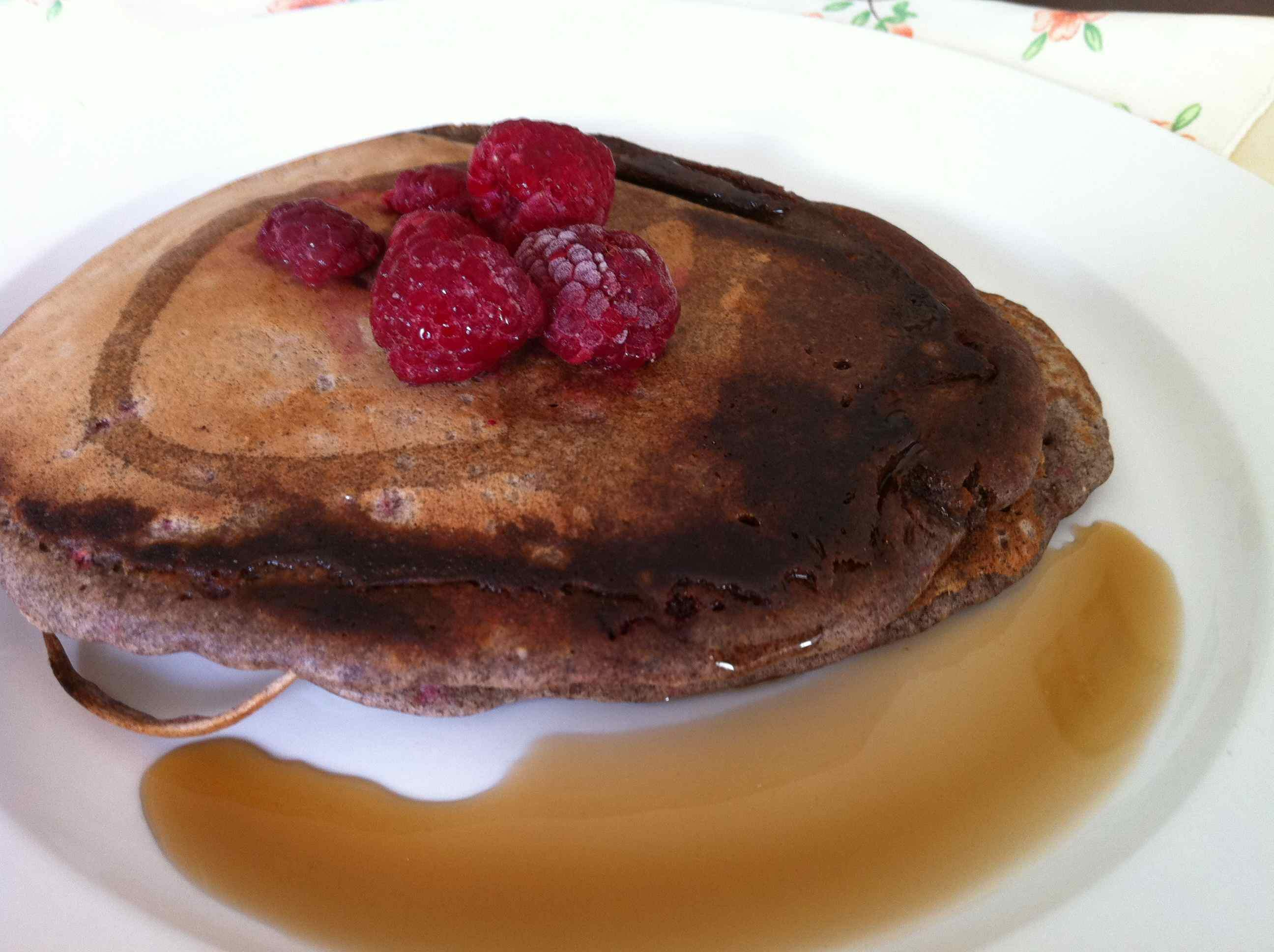Sweet Almond Pancakes With Fresh Raspberries Recipe — Dishmaps